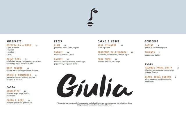 Giulia Dinner Menu