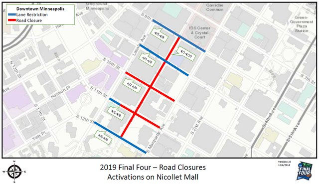 Final Four Nicollet Mall Road Closures