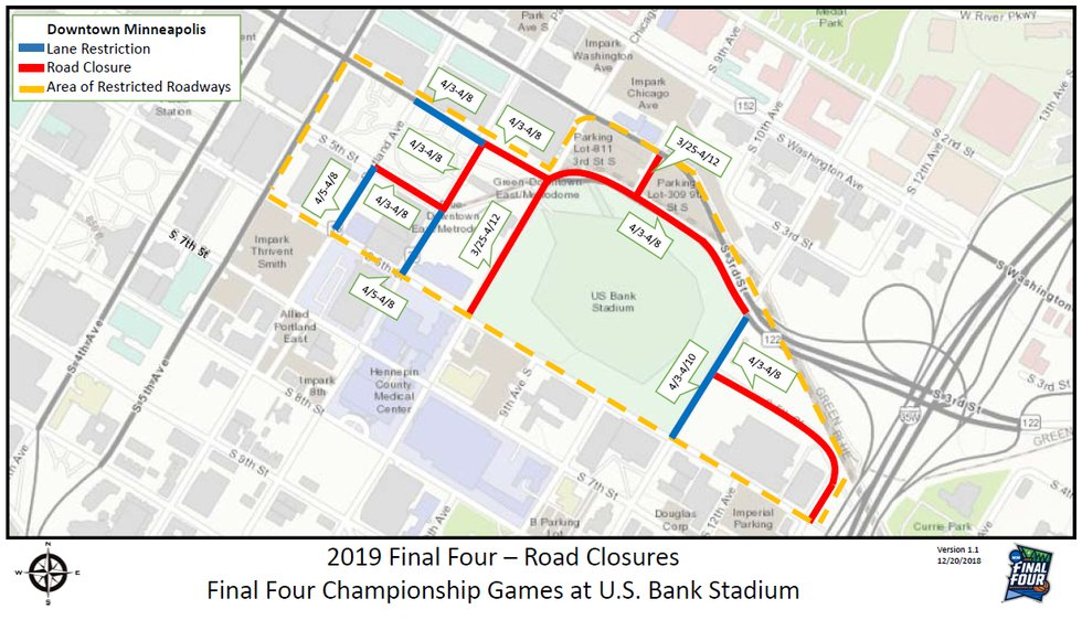 picture about Minneapolis Skyway Map Printable called What toward Count on All through the NCAA Top 4 inside Minneapolis