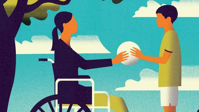 illustration of woman in a wheelchair handing a ball to a boy