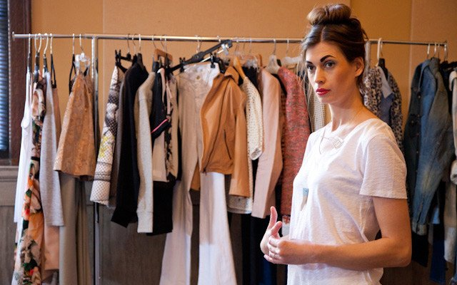 Model Laura Penton waiting for wardrobe at Mpls.St.Paul...