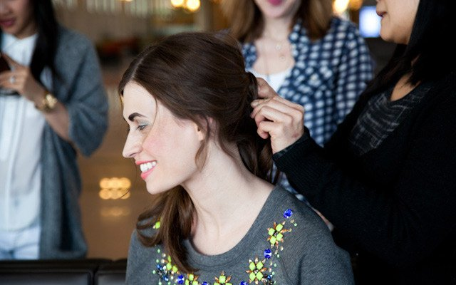 Model Laura Penton getting her hair done at Mpls.St.Pau...