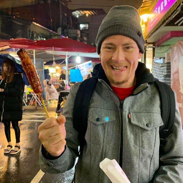 Chef Adam Wilson at the Raohe Night Market