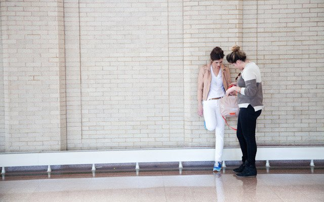 Liz Doyle talks to model Laura Penton at Mpls.St.Paul M...