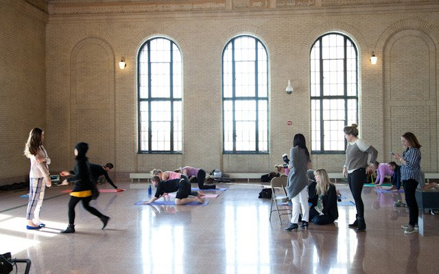 A yoga class takes place in the middle of Mpls.St.Paul ...