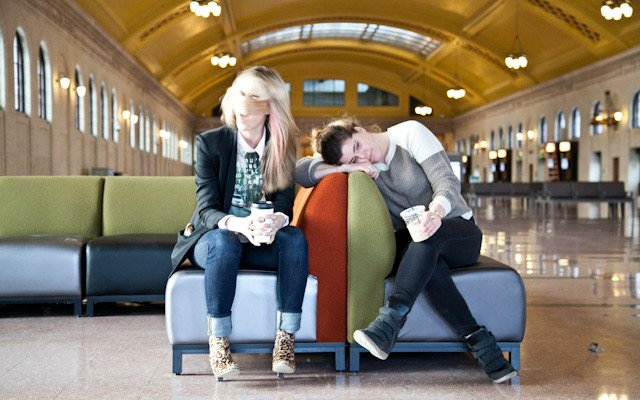 Liz Gardner and Liz Doyle rest after wrapping Mpls.St.P...
