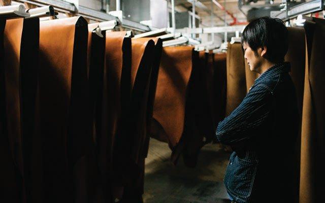 Akinobu Iwasaki inside the SB Foote Red Wing Boot Tannery
