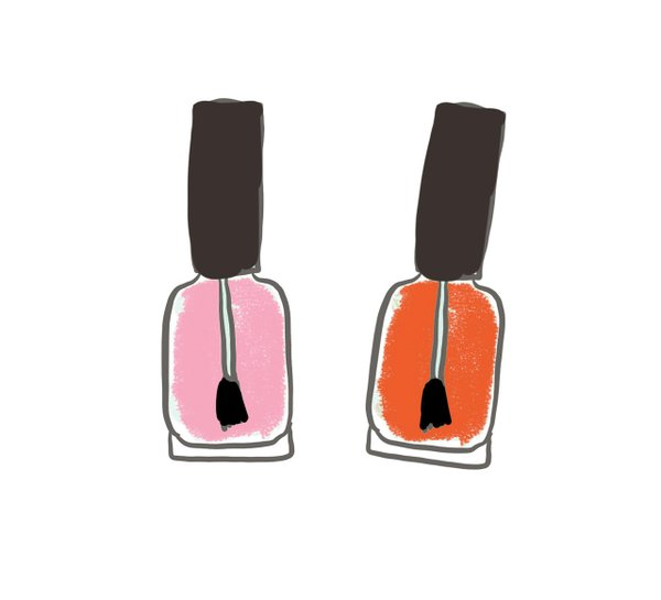 Illustration of two bottles of nail polish