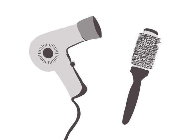 Illustration of a hair dryer and a brush