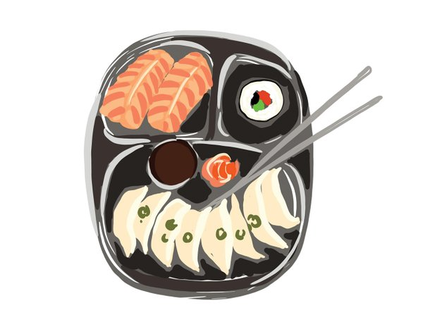 Illustration of sushi and pot stickers