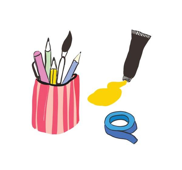 Art supplies illustration