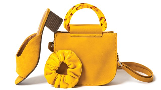 Yellow shoe, purse and scrunchie
