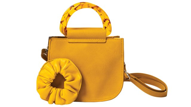 Gold hair scrunchie and gold crossbody bag