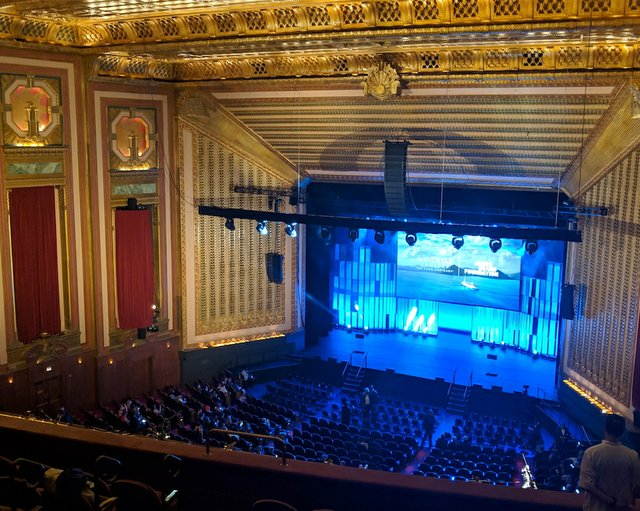 Balcony view of Lyric Opera Theater stage during the 2019 James Beard Awards