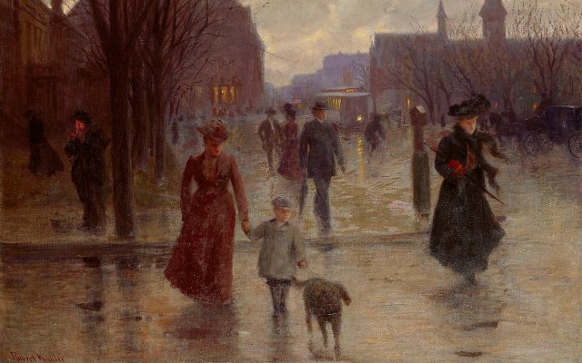 "Robert Koehler, ""Rainy Evening on Hennepin Avenue"""