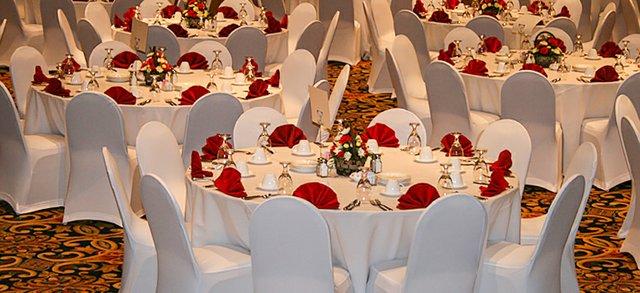 Wedding reception tables set