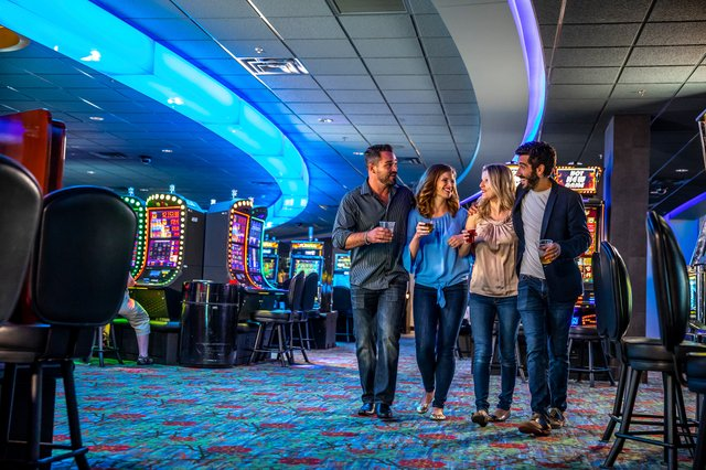Friends walking through the casino
