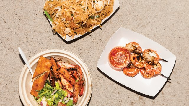 Thai Thai Street Food's Pad Thai, Blue Prawns, and Pattaya BBQ Pork Bowl