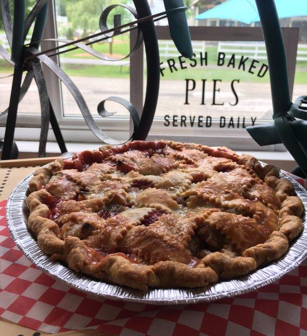 A rhubarb pie at Aroma Pie Shoppe