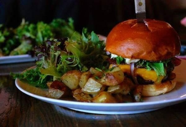 Burger and potatoes from Staghead Gastropub