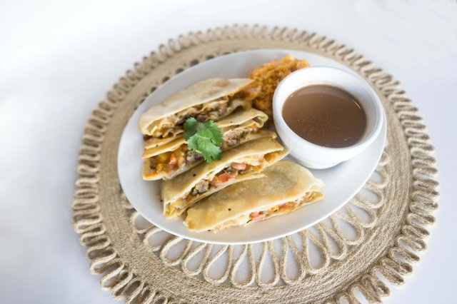 Quesadilla with rice and beans
