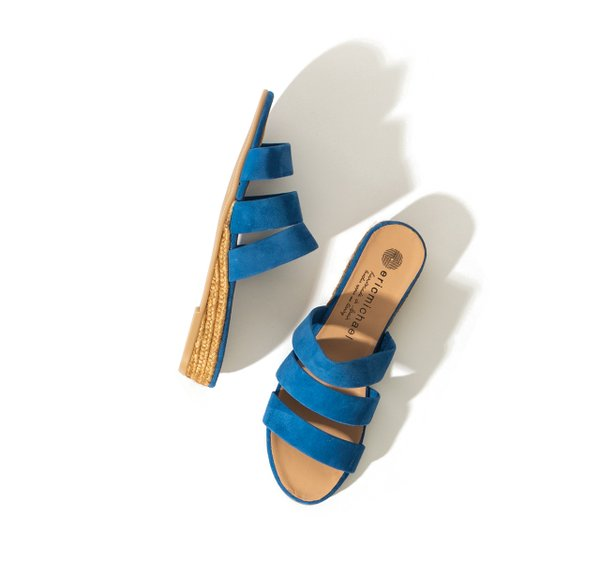blue suede wedge sandal by Eric Michael
