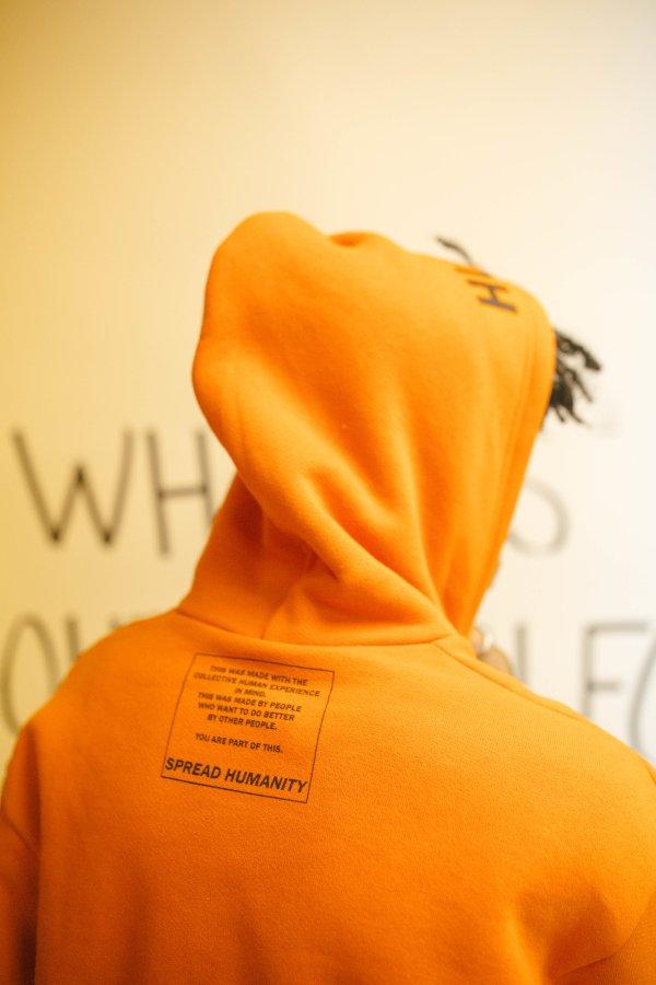 Orange hooded sweatshirt