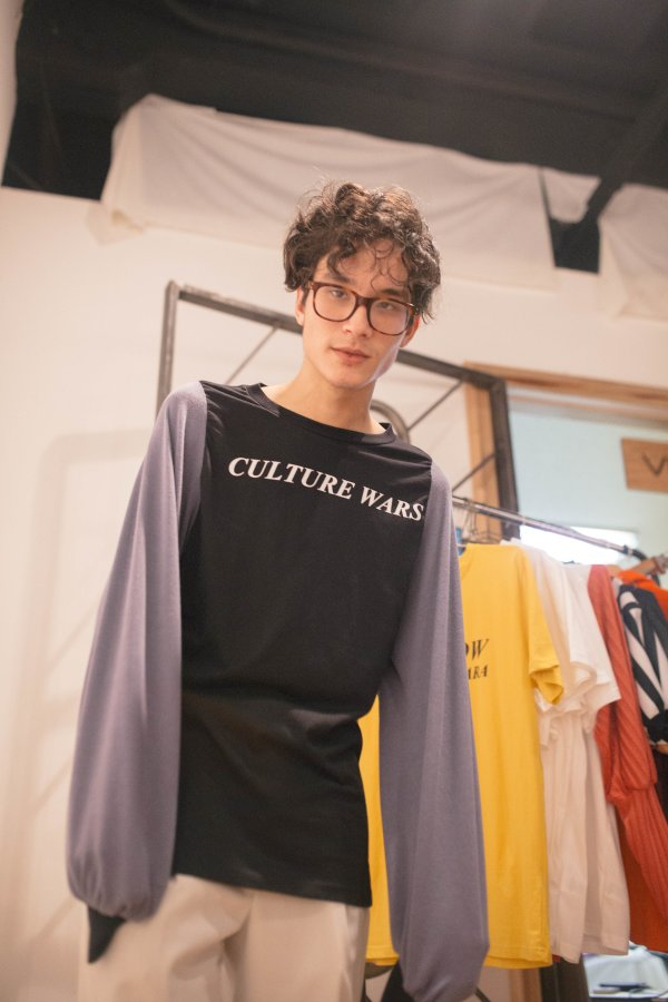 model wearing a long sleeve t shirt