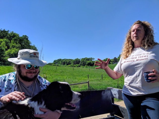 Jake, Mister Fluffy Pants, and Farmer Steph on the tour