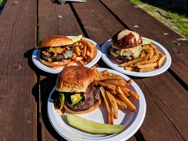 Burgers with fries