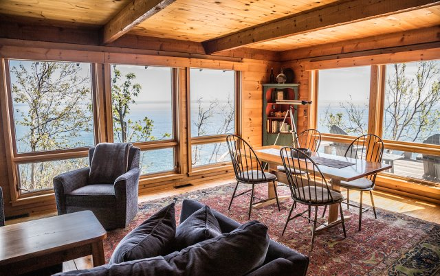 Living room with views of the lake