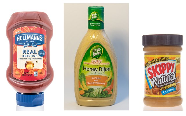 Ketchup, salad dressing, and peanut butter