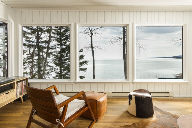 View out of a window of Lake Superior