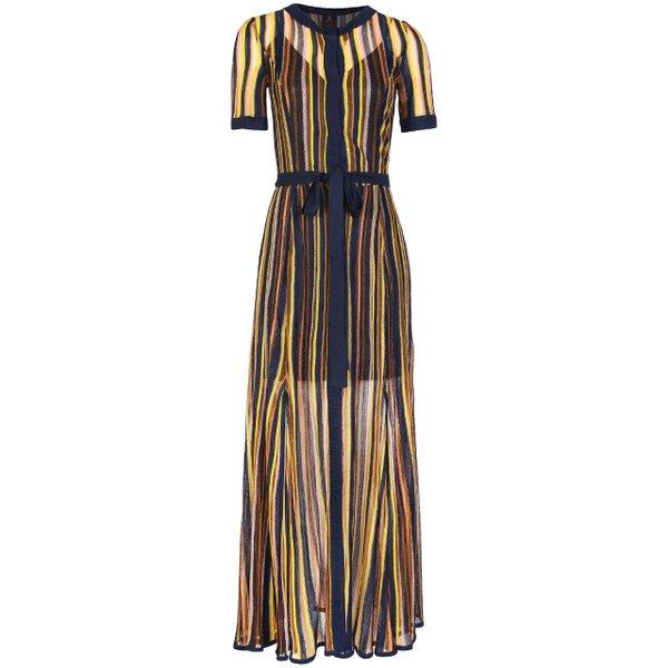 Sheer striped midi dress