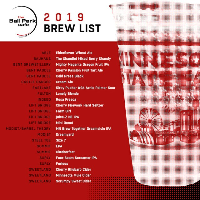 the 2019 ball park cafe beer list