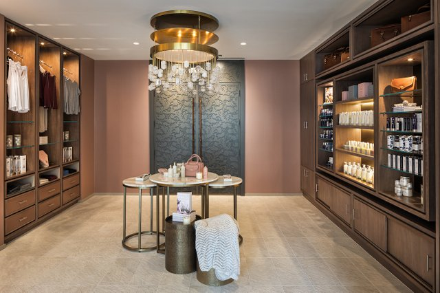 Interior of a retail space at the spa