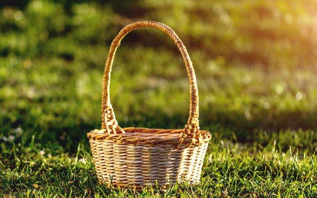wicker basket on a green lawn