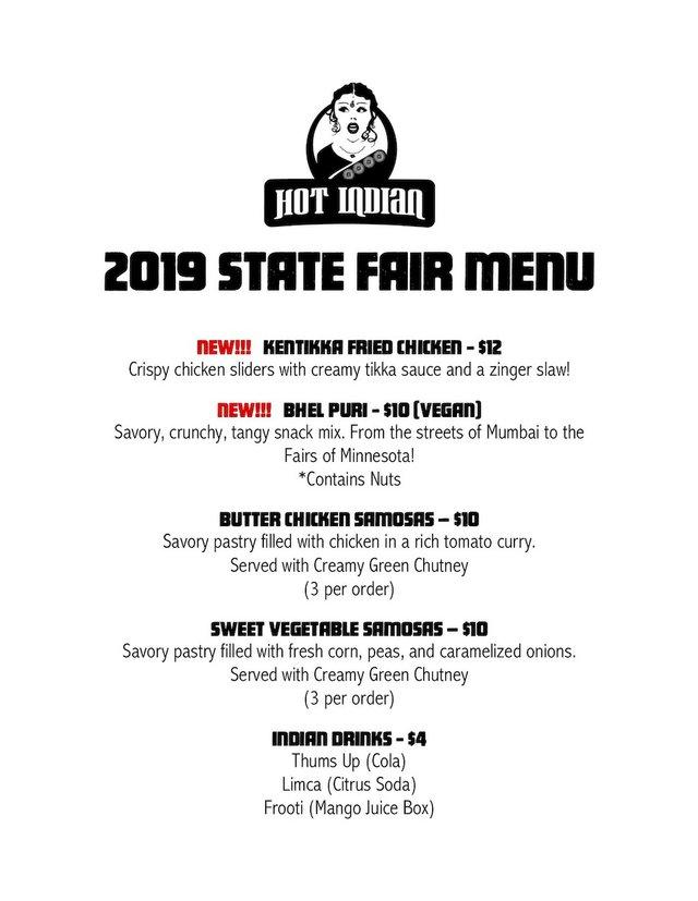Hot Indian 2019 State Fair menu