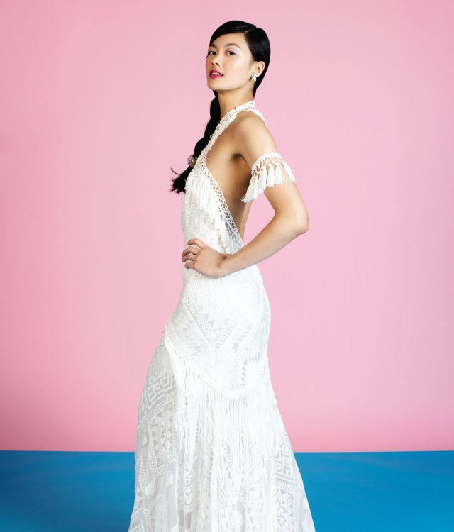 bohemian-inspired gown