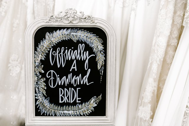 a sign that says officially a diamond bride
