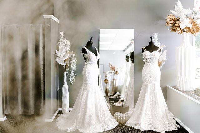 mannequins featuring wedding dresses