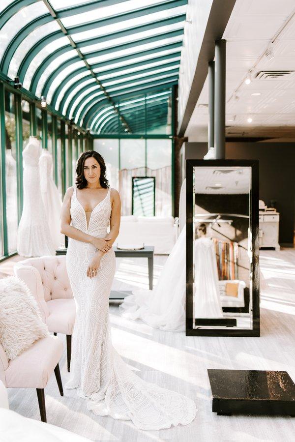 woman modeling a wedding dress