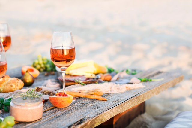 glass of wine with food