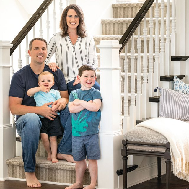 family photo on stairway