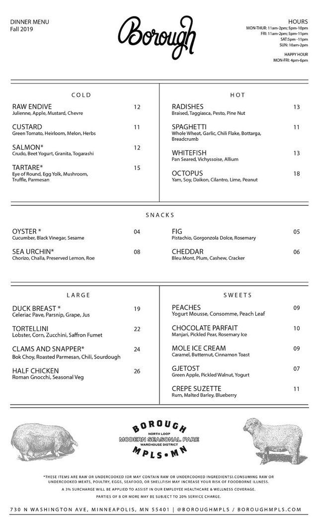 borough menu