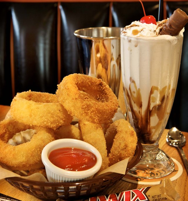 onion rings and a shake