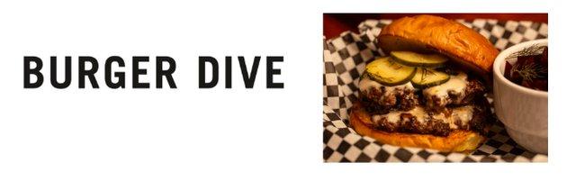 Burger Dive logo and sample