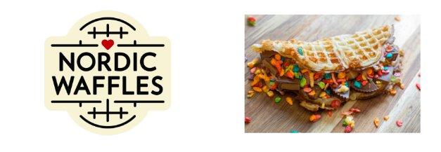 Nordic Waffles logo and sample
