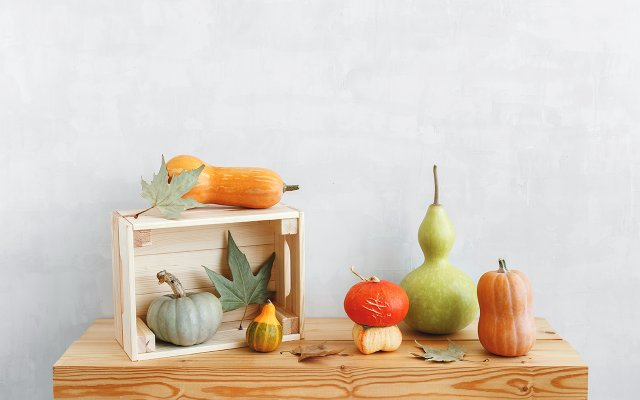 assortment of squashes displayed on a wood table