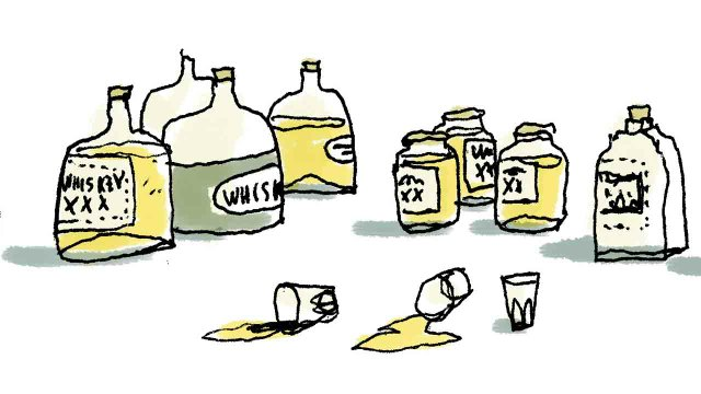 whiskey bottle illustration